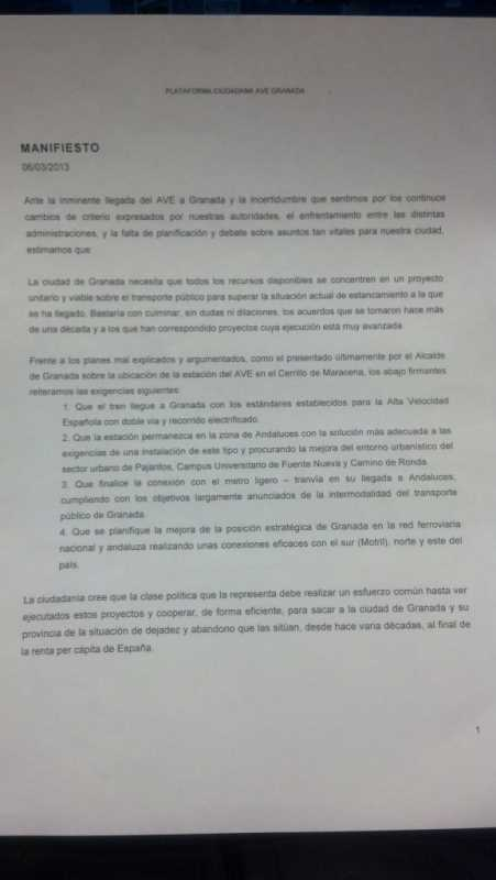 Manifiesto AVE