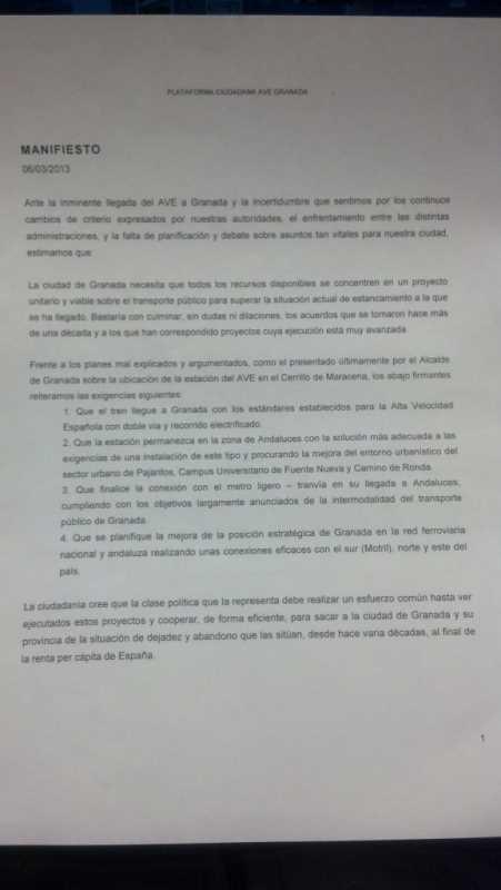 Manifiesto AVE