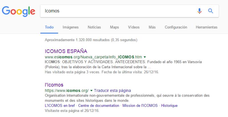 Icomos ONG Pantallazo