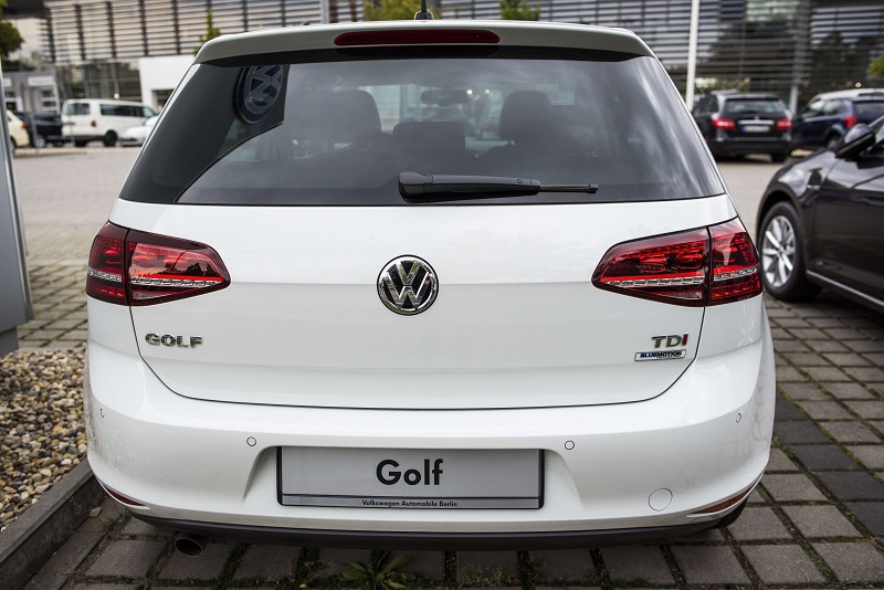 A Golf diesel car is seen at a Volkswagen dealer in Berlin on September 22, 2015. In an affair that originally broke on Friday and has unfolded rapidly since then, VW has forced to admit on Tuesday that 11 million of its diesel cars all around the world are equipped with devices that can cheat pollution test. AFP PHOTO / ODD ANDERSEN