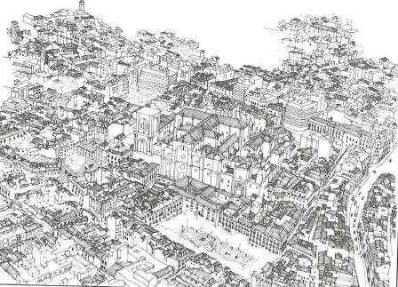 Levantamiento a plumilla la catedral de Granada y su entorno urbano./ Avance del PGOU de Granada en 1994