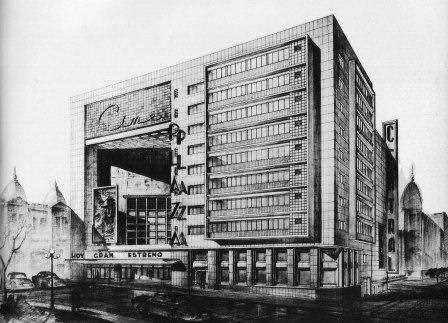 Boceto del Cine Plaza de Lorente Escudero en Montevideo.