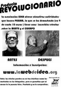 """Cartel """"Antes y Después"""" de IDEA."""