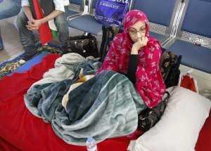 Aminetu Haidar en el aeropuerto de Ls Palmas./ Ideal