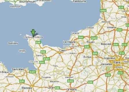 Ubicación de Cherbourg.