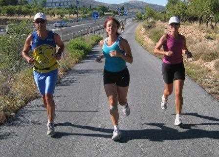 Juan Carlos García de los Reyes y Elena Palomares en plena maratón.