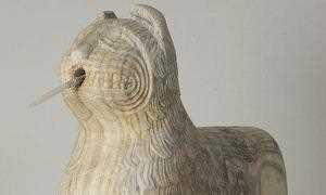 Aspecto del león restaurado que pudo verse en la I Feria Internacional de Conservación y Restauración del Patrimonio.