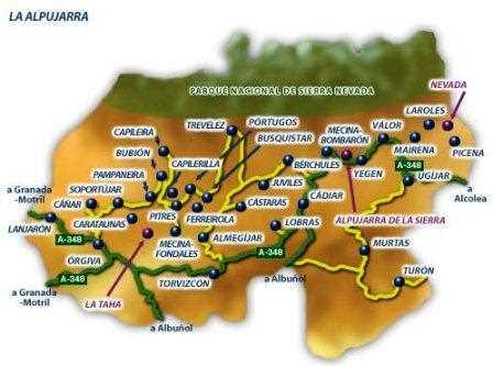 Mapa de La Alpujarra.