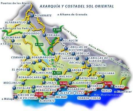 Mapa Axarquia Fuente: carambacar.com