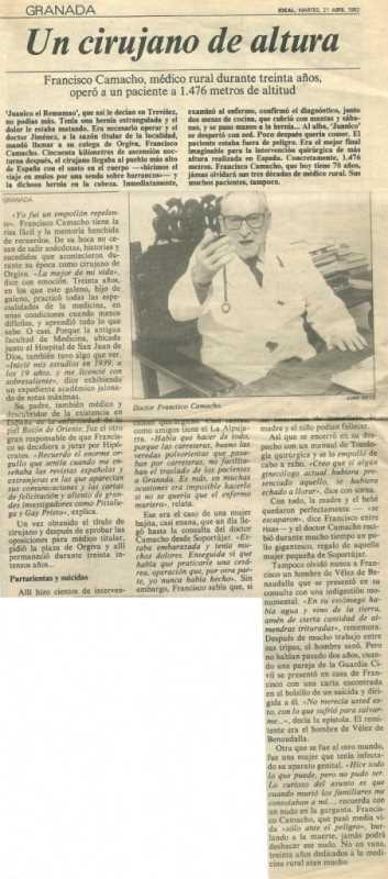 Artículo del periódico Ideal de 1992