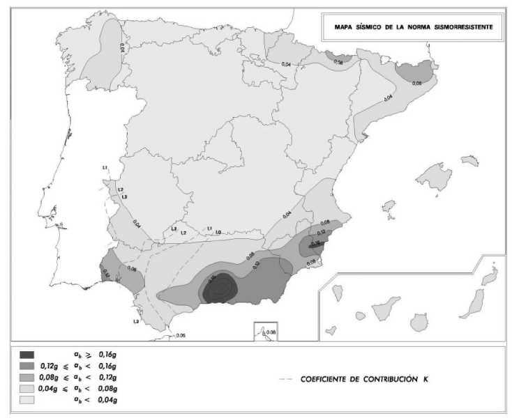 Mapa de peligrosidad sísmica. FUENTE: NCSE-02