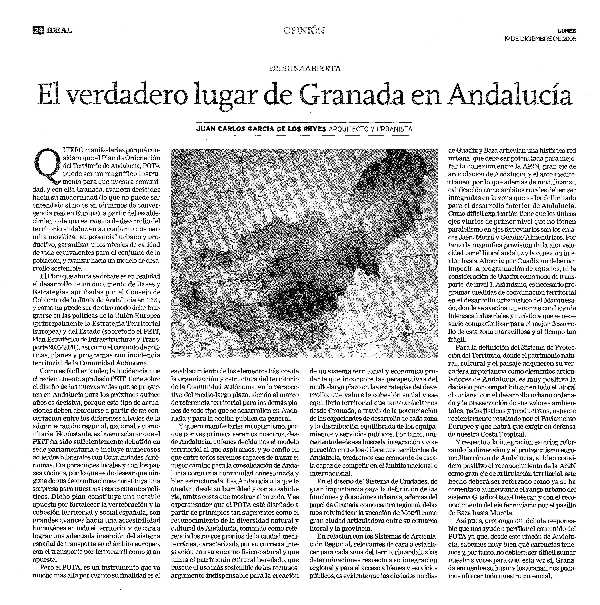 Articulo de opinion publicado en Ideal. FUENTE: Ideal