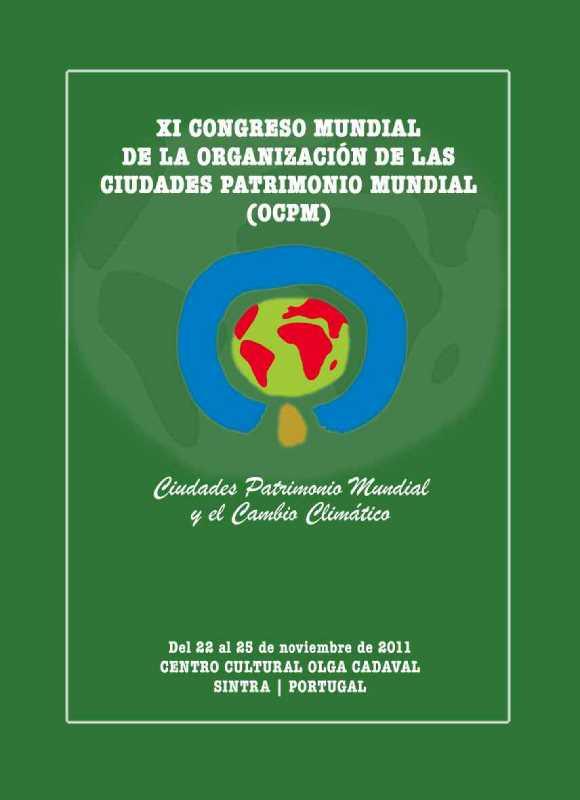 """Cartel de congreso """"Ciudades del Patrimonio Mundial y Cambio Climático""""."""