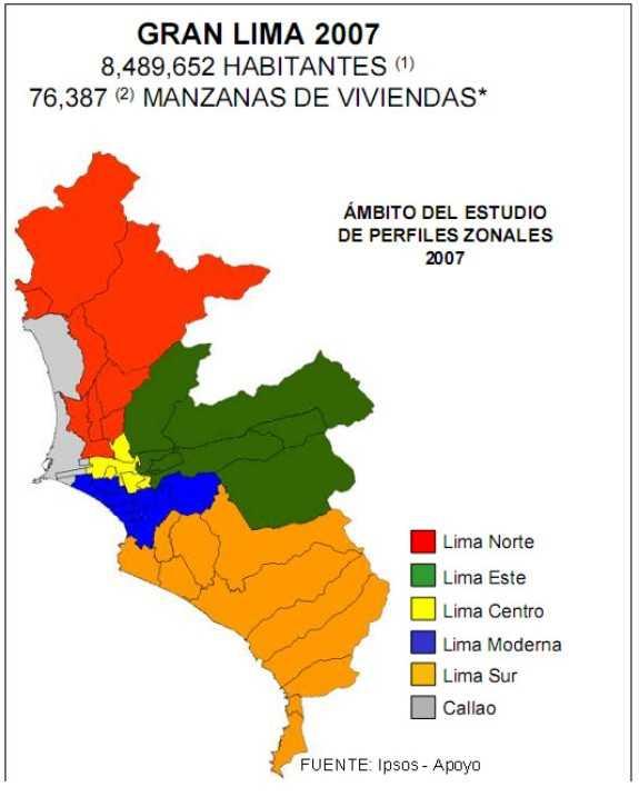 Distribucion espacial del Area Metropolitana de Lima