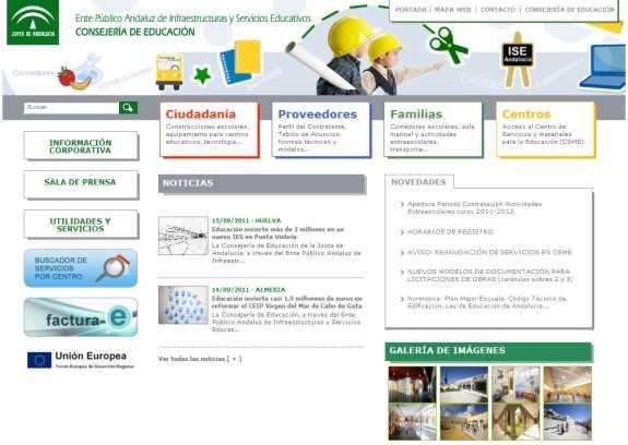 Web del ISE. FUENTE: iseandalucia.es
