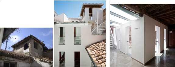 Vista del patio antes y después de la rehabilitación. Fernando Alda es el autor de las fotografías del estado reformado.