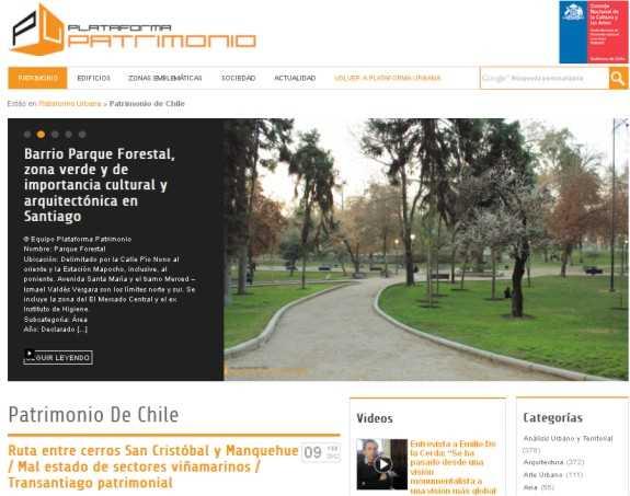 """Captura de la web """"Plataforma Patrimonio"""""""