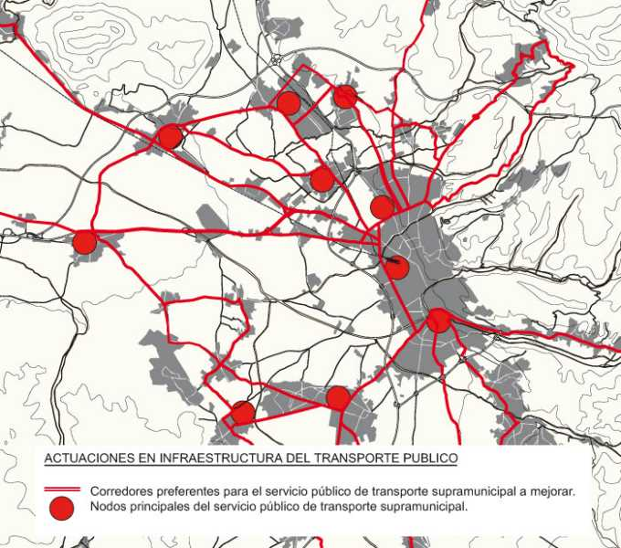 Actuaciones en infraestructuras del transporte público. FUENTE: POTAUG