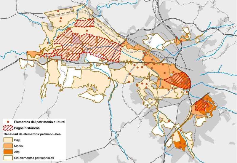 Unidades de paisaje y elementos patrimoniales. FUENTE: Plan Especial de Ordenación de la Vega de Granada. Documento para la concertación
