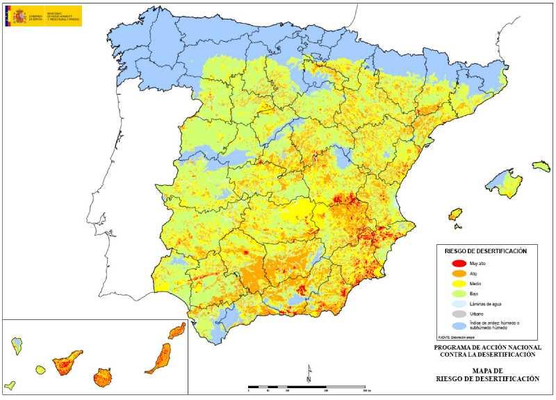 Mapa de riesgo de desertificacion. FUENTE: magrama.gob.es
