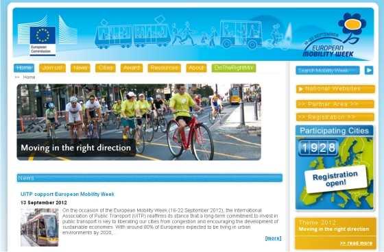Web de la Semana Europea de la Movilidad. FUENTE: mobilityweek.eu