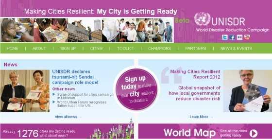 Captura de la web de UNISDR. FUENTE: unisdr.org