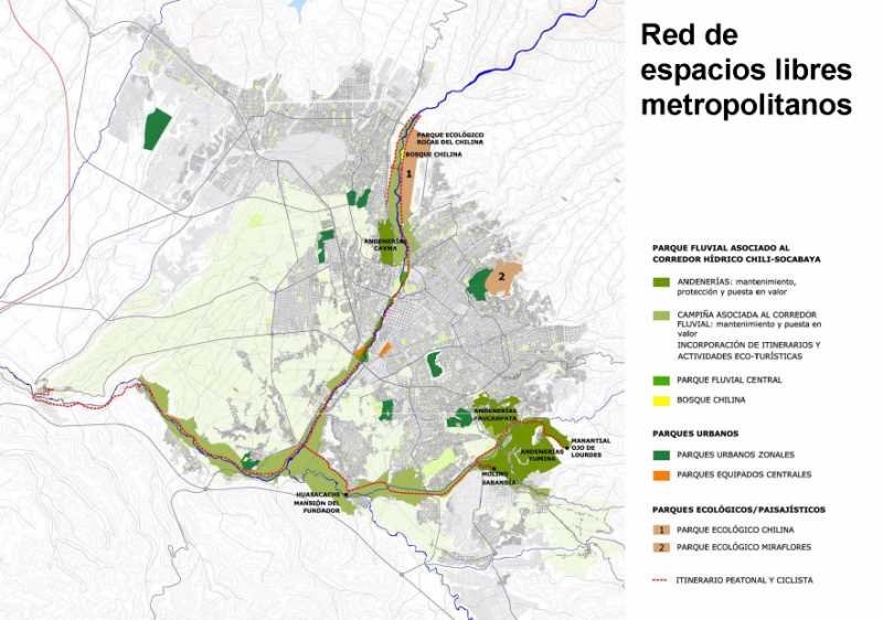 Red de espacios libres. FUENTE: PDM de Arequipa