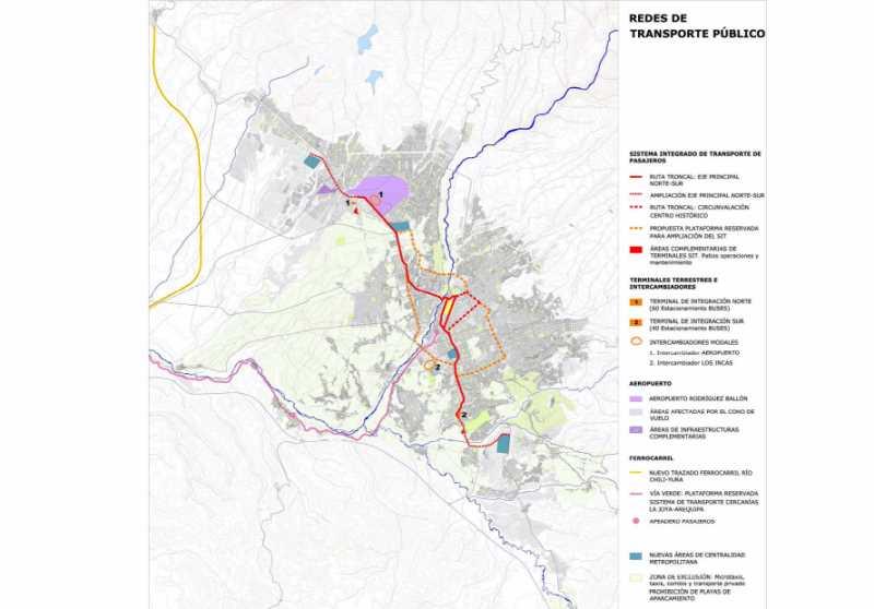 Redes de transporte publico. FUENTE: PDM de Arequipa