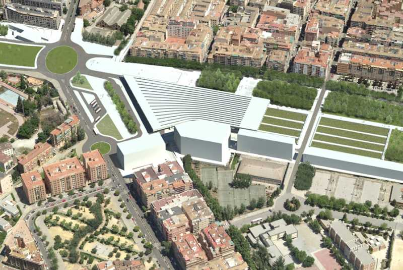 """Vista aérea del la """"futura"""" estación del AVE. FUENTE: ideal.es"""