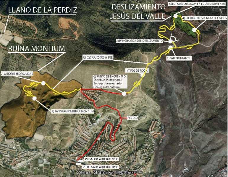 Mapa del reccorrido. Fuente: Geolodía 2013 Granada
