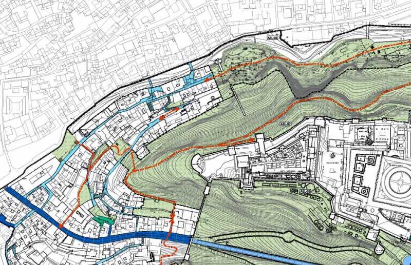 Ventana del plano de propuesta de movilidad del Plan Especial Alhambra. Fuente: Elaboración propia.