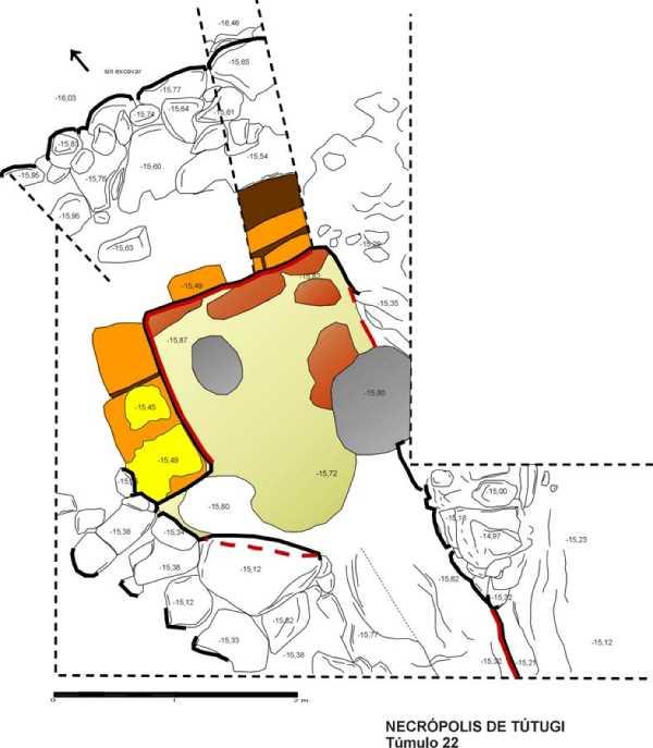 Plano del proyecto elaborado por GRarquitectos de Recuperación y Puesta en Valor del yacimiento de la Necrópolis Iberica de Tútugi en Galera. Fuente: Elaboración propia.