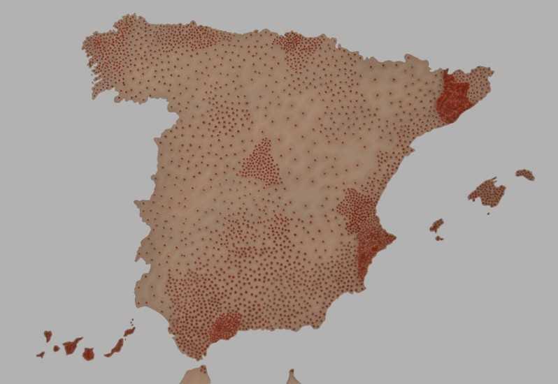 Mapa de España en base a la tasa de suicidios. Fuente: rosaliabanet.blogspot.com