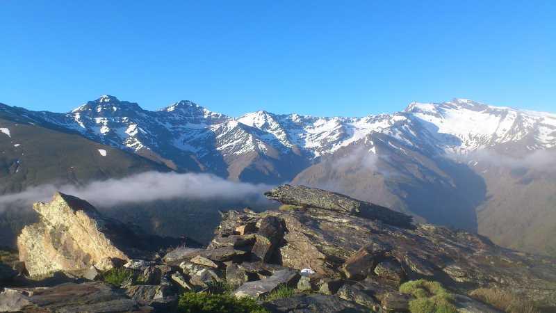 Cara norte del pico del Mulhacen y Alcabaza, entre otros. Fuente: Elaboración propia