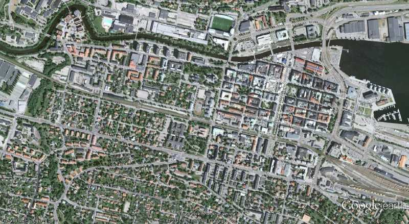 Ortofoto del centro de Sundsvall, Suecia. Fuente: Google Earth