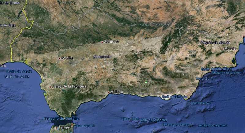 Ortofoto de la región andaluza. Fuente: Google Earth, 2014