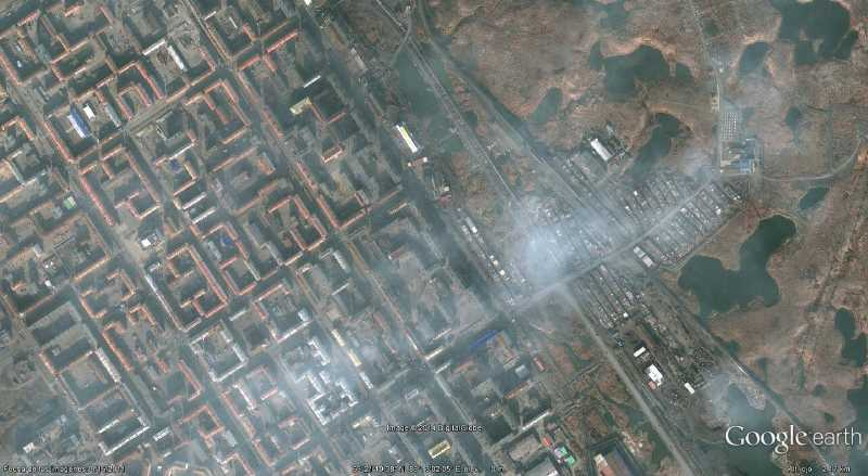 Norilsk, ciudad castigada por la contaminación. Fuente: Google Earth