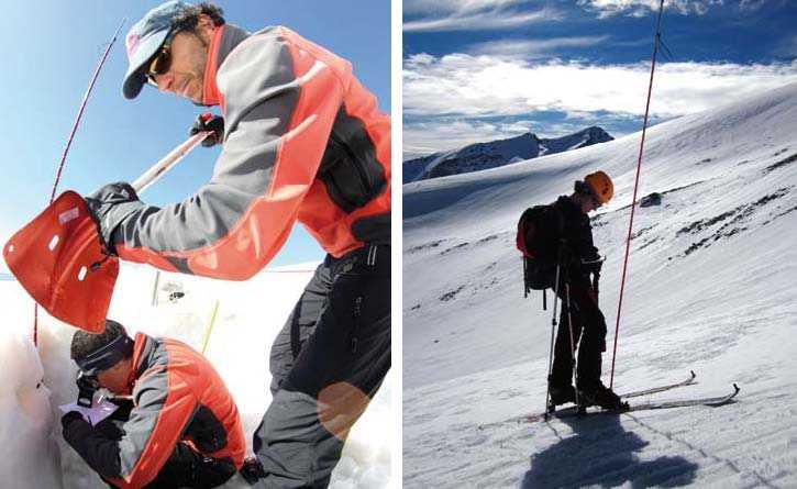 Perfilando un pozo de nieve para analizarlo y realizando sondeos para conocer la profundidad de la capa de nieve. FUENTE: Observatorio de Cambio Global de Sierra Nevada. Metodología y seguimiento. 2012