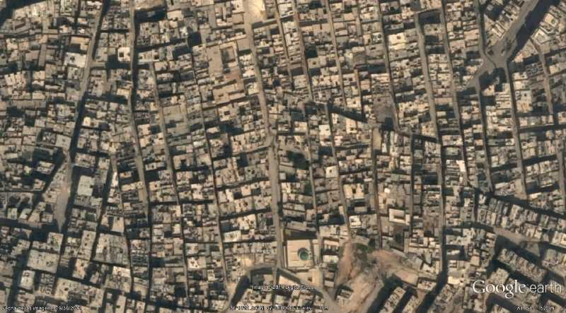 Alepo, Siria, Fuente: Google Earth.