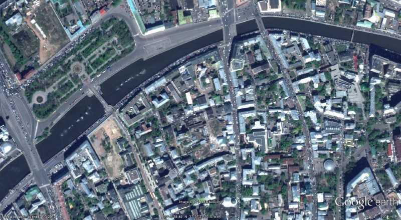 Ortofoto del centro de Moscú. Fuente: Google Earth