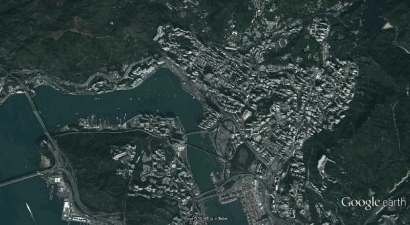 Ortofoto de Hong Kong. Fuente: Google Earth