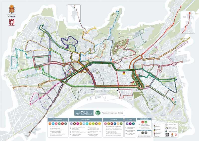 Plano de las nuevas líneas de autobuses que discurrirán por la ciudad. Fuente: www.movilidadgranada.com