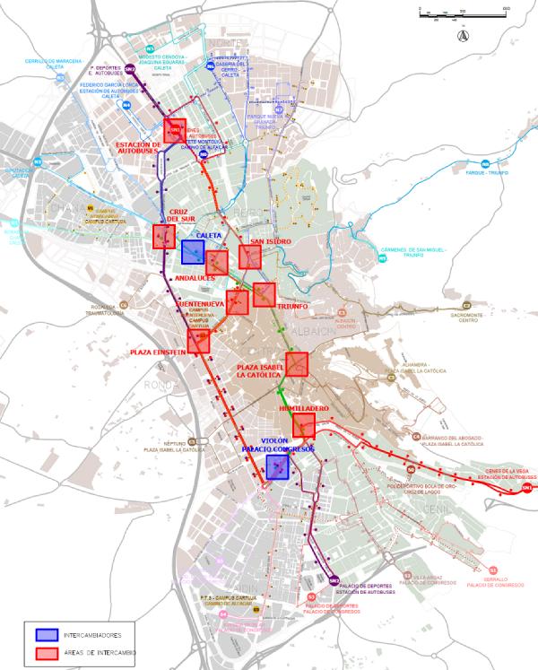 Plano de las nuevas áreas de intercambio. Fuente: www.movilidadgranada.com