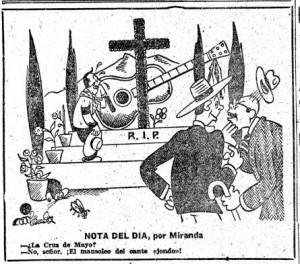 Miranda lamenta el fin de la tradición con esta viñeta publicada en 1948 utilizando como referencia la cruz municipal de aquel año (foto de arriba)